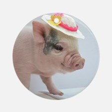 Micro pig with Summer Hat Round Ornament