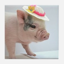 Micro pig with Summer Hat Tile Coaster