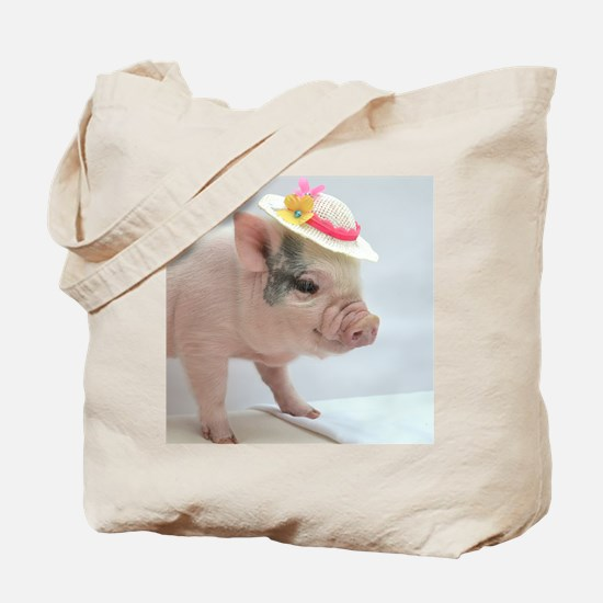 Micro pig with Summer Hat Tote Bag