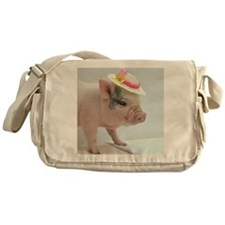 Micro pig with Summer Hat Messenger Bag