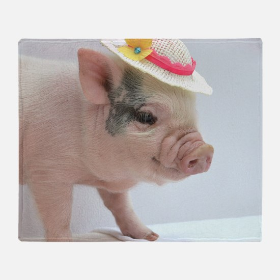 Micro pig with Summer Hat Throw Blanket
