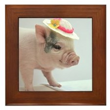 Micro pig with Summer Hat Framed Tile
