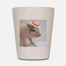 Micro pig with Summer Hat Shot Glass