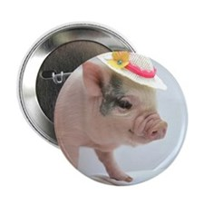 """Micro pig with Summer Hat 2.25"""" Button"""
