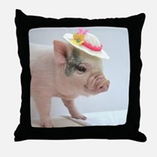 Micro pig with Summer Hat Throw Pillow