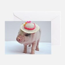 Micro pig wearing Summer hat Greeting Card