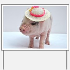 Micro pig wearing Summer hat Yard Sign