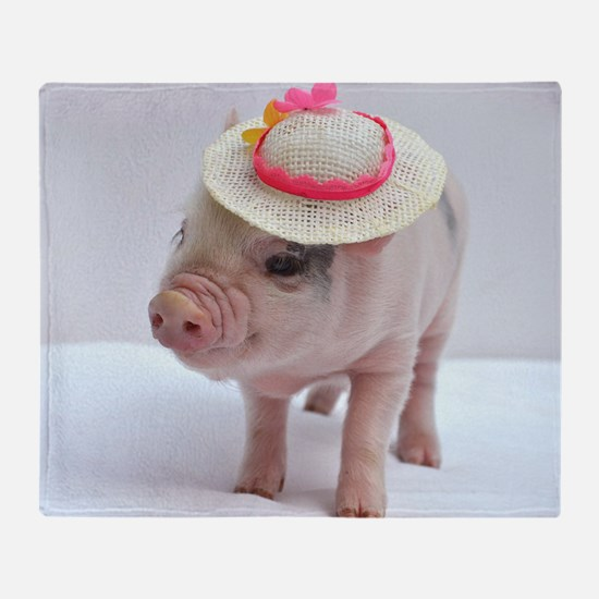 Micro pig wearing Summer hat Throw Blanket