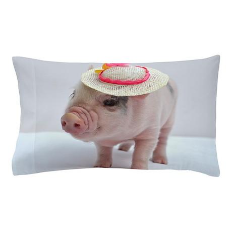 Micro pig wearing Summer hat Pillow Case