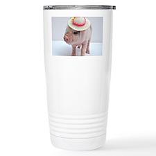 Micro pig wearing Summe Travel Mug