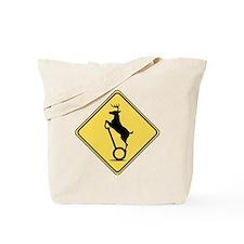 Deer on Scooter Crossing Tote Bag