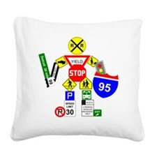 Street Sign Warrior Square Canvas Pillow