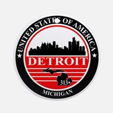 Detroit logo black and red Round Ornament