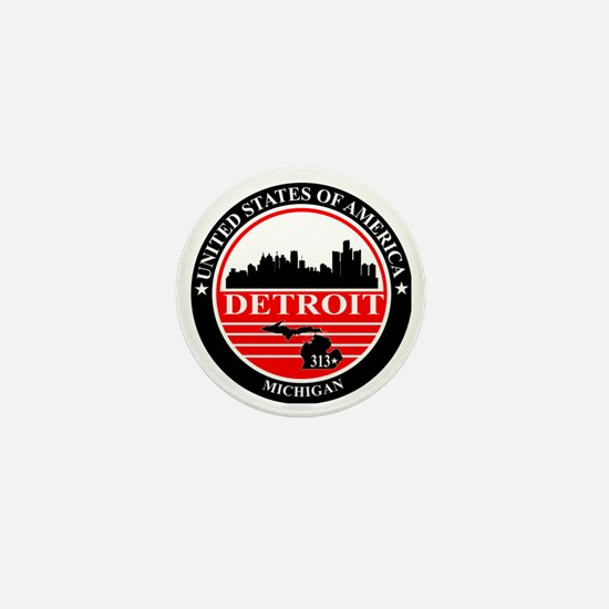 Detroit logo black and red Mini Button