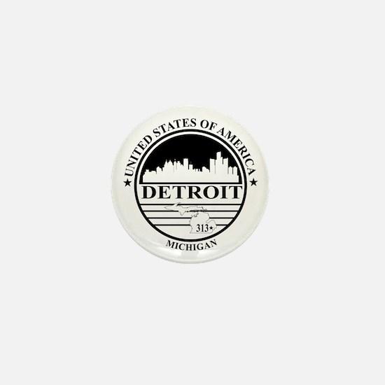 Detroit logo white and black Mini Button