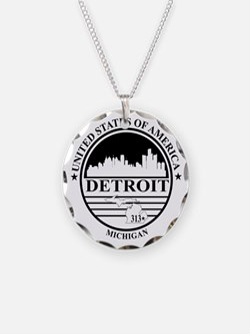 Detroit logo white and black Necklace
