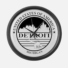 Detroit logo white and black Large Wall Clock