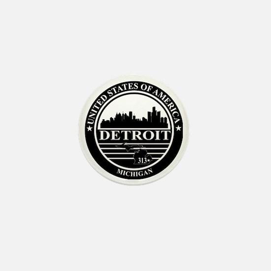 Detroit logo black and white Mini Button