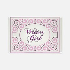 Swirly Writer Girl in pink  white Rectangle Magnet