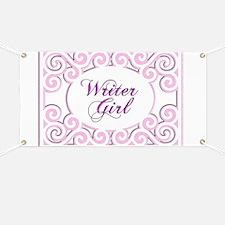 Swirly Writer Girl in pink  white Banner