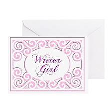 Swirly Writer Girl in pink  white Greeting Card