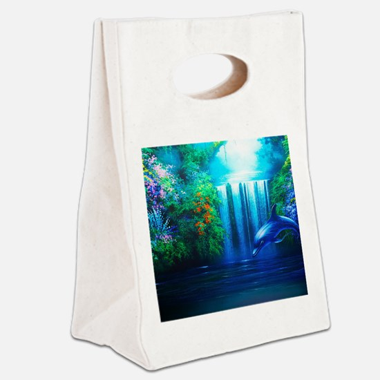Dolphin Paradise Canvas Lunch Tote