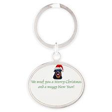 Rottie Rottweiler Christmas Oval Keychain