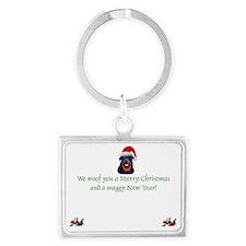 Rottie Rottweiler Christmas Landscape Keychain