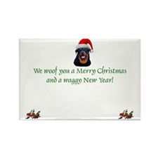 Rottie Rottweiler Christmas Rectangle Magnet