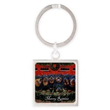 Merry Rotties Rottweiler Christmas Square Keychain