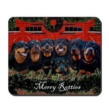 Merry Rotties Rottweiler Christmas Mousepad