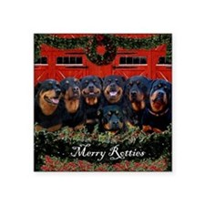 "Merry Rotties Rottweiler Ch Square Sticker 3"" x 3"""