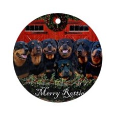 Merry Rotties Rottweiler Christmas Round Ornament