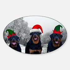 Rottweiler Santa Sticker (Oval)