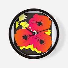 flowers duvet orange on black Wall Clock