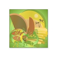 "Kokopelli Island Green Square Sticker 3"" x 3"""