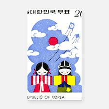 1977 Korea Children And Kites Rectangle Car Magnet
