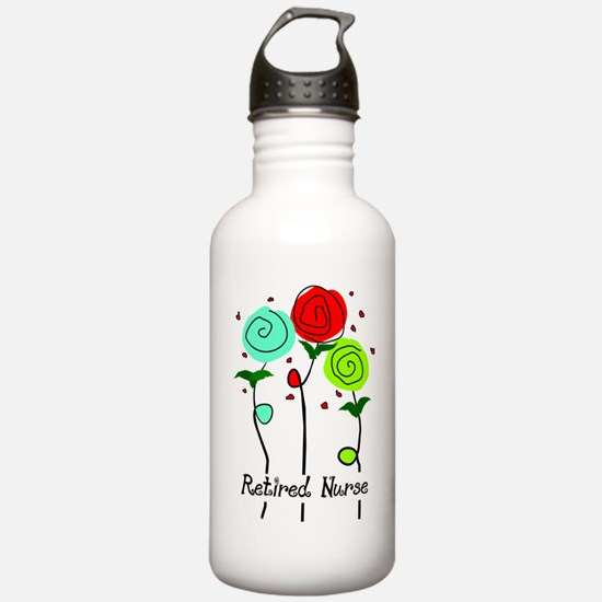 Retired Nurse Floral Water Bottle