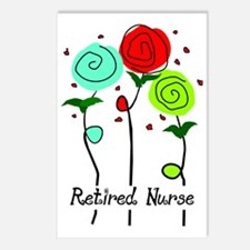 Retired Nurse Floral Postcards (Package of 8)