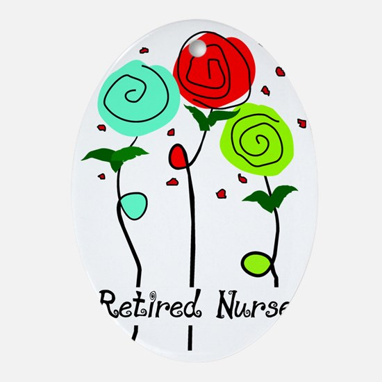 Retired Nurse Floral Oval Ornament