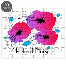 Retired Nurse Fuschia Flowers Puzzle
