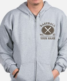 Personalized Baseball Number Player Name Zip Hoodie