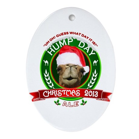 Hump Day Camel Christmas Ale Label Ornament (Oval)