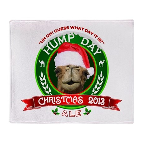 Hump Day Camel Christmas Ale Label Throw Blanket