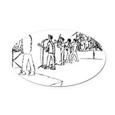 10 View from behind Oval Car Magnet