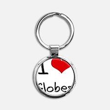 I Love Globes Round Keychain