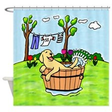 Yellow Labrador Bathing Shower Curtain
