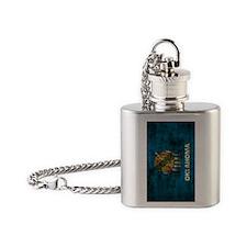 Oklahoma Flag Grunge Flask Necklace