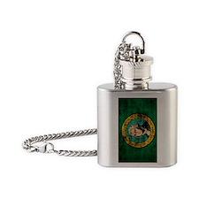 Washington Flag Grunge Flask Necklace