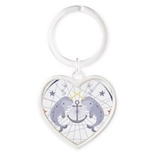 Narwhal Heart Keychain